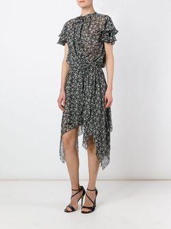 Асимметричное Платье С Цветочным Принтом Pascal Millet                                                                                                              чёрный цвет