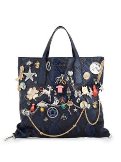 Snakeskin Effect Embellished Tote Marc Jacobs                                                                                                              синий цвет