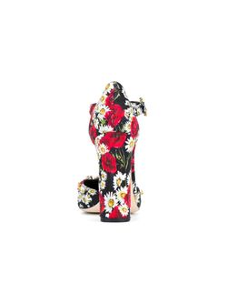 Embellished Print T-Bar Sandals Dolce & Gabbana                                                                                                              многоцветный цвет