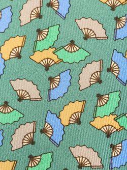 Галстук С Принтом Вееров Hermès Vintage                                                                                                              зелёный цвет