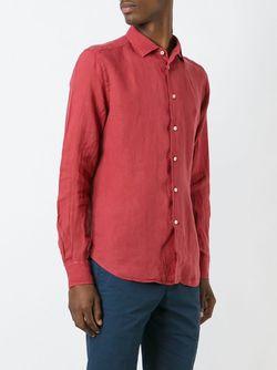 Рубашка С Вышитым Логотипом Corneliani                                                                                                              красный цвет