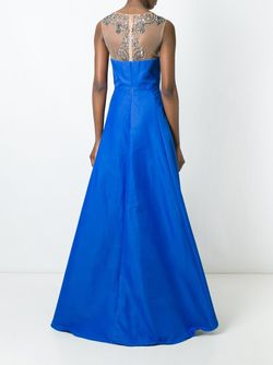 Embroidered Long Dress Marchesa Notte                                                                                                              синий цвет