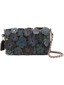 Print Dinky Floral Applique Flap Closure Shoulder COACH                                                                                                              синий цвет