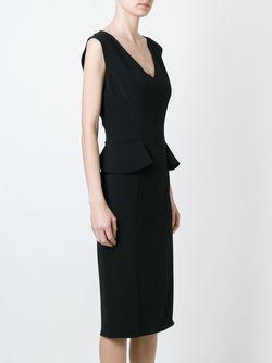 Приталенное Платье С V-Образным Вырезом Ermanno Scervino                                                                                                              черный цвет