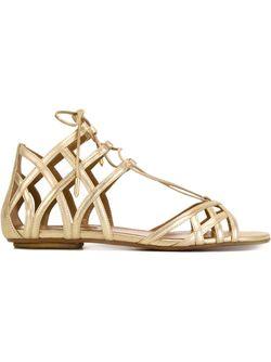 Ginger Flat Sandals Aquazzura                                                                                                              серебристый цвет