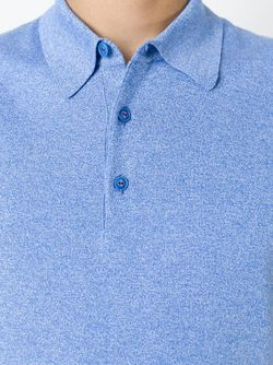Меланжевая Футболка-Поло Kiton                                                                                                              синий цвет