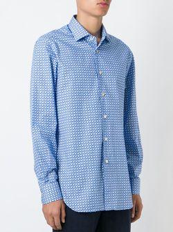 Рубашка С Геометрическим Принтом Kiton                                                                                                              синий цвет