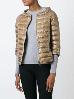 Стеганая Куртка С Короткими Рукавами Herno                                                                                                              коричневый цвет