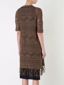 Fringed Crochet Long Cardigan Coat GUILD PRIME                                                                                                              коричневый цвет