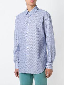 Рубашка С Мелким Узором Kiton                                                                                                              белый цвет