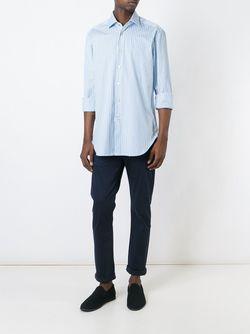 Полосатая Рубашка Kiton                                                                                                              белый цвет