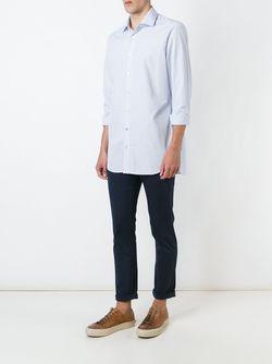 Полосатая Рубашка На Пуговицах Kiton                                                                                                              синий цвет