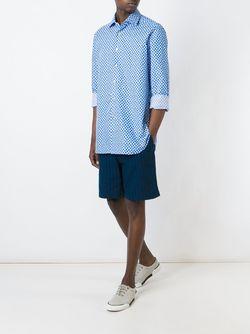 Рубашка С Мелким Узором Kiton                                                                                                              синий цвет