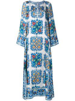 Maiolica Print Silk-Twill Kaftan Dress Dolce & Gabbana                                                                                                              синий цвет