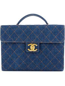 Стеганый Джинсовый Портфель Chanel Vintage                                                                                                              синий цвет