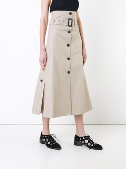 Contrast Button Belted A-Line Skirt BY STEPHANIE HAHN                                                                                                              Nude & Neutrals цвет