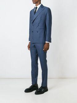 Pinstriped Double-Breasted Suit Tagliatore                                                                                                              синий цвет