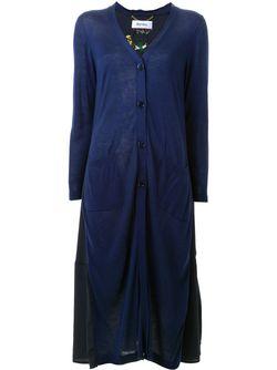 Embroidered Back Cardigan Coat Muveil                                                                                                              синий цвет