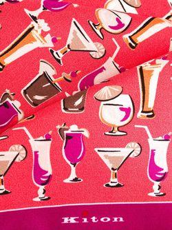 Нагрудный Платок С Принтом Коктейлей Kiton                                                                                                              розовый цвет