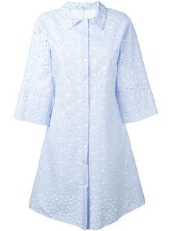 Платье-Рубашка С Цветочной Вышивкой Blumarine                                                                                                              синий цвет