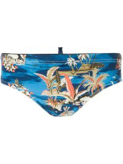 Плавки С Цветочным Принтом Dsquared2 Beachwear                                                                                                              синий цвет