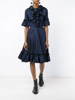 Ruffle Silk-Blend Short Sleeve Dress J.W. Anderson                                                                                                              черный цвет