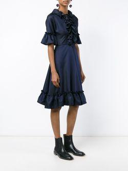 Ruffle Silk-Blend Short Sleeve Dress J.W. Anderson                                                                                                              чёрный цвет