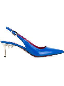 Steel Heel Slingback Pumps Cesare Paciotti                                                                                                              синий цвет