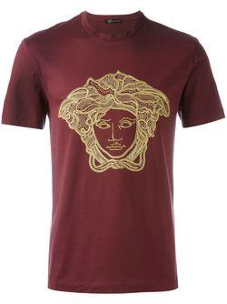 Футболка С Вышивкой Medusa Versace                                                                                                              красный цвет