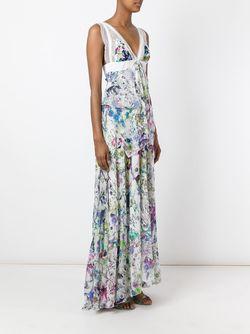 Длинное Платье С Цветочным Принтом Roberto Cavalli                                                                                                              белый цвет