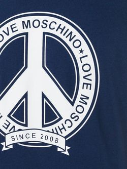 Футболка С Принтом Peace Love Moschino                                                                                                              синий цвет