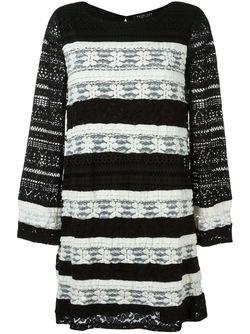 Полосатое Трикотажное Платье Twin-set                                                                                                              чёрный цвет