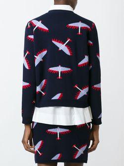 Джемпер С Принтом-Интарсией Птиц Maison Kitsune                                                                                                              синий цвет