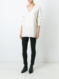 Джемпер Свободного Кроя С V-Образным Вырезом T By Alexander Wang                                                                                                              белый цвет