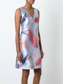 Жаккардовое Платье С Принтом Перьев Emilio Pucci                                                                                                              синий цвет