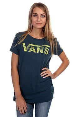 Футболка Женская Authentic Logo Cre Reaction Blue Vans                                                                                                              синий цвет