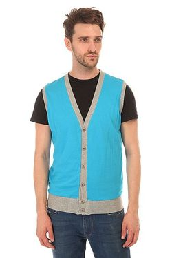 Жилетка Jersey Button Vest Turquoise/Grey Urban Classics                                                                                                              голубой цвет