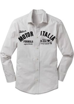 Рубашка Regular Fit С Длинным Рукавом bonprix                                                                                                              серый цвет
