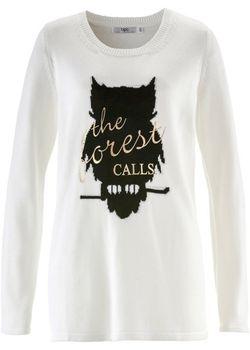 Пуловер С Длинным Рукавом И Рисунком Спереди bonprix                                                                                                              Цвет Белой Шерсти цвет