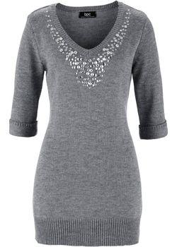 Удлиненный Пуловер С Рукавом 3/4 bonprix                                                                                                              серый цвет