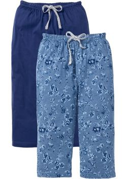 Пижамные Брюки-Капри 2 Шт. bonprix                                                                                                              синий цвет