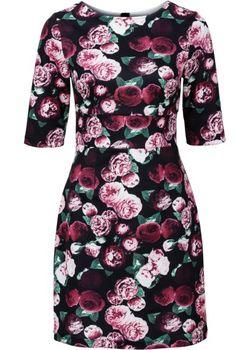Платье Из Плотного Трикотажа bonprix                                                                                                              В Цветочек цвет