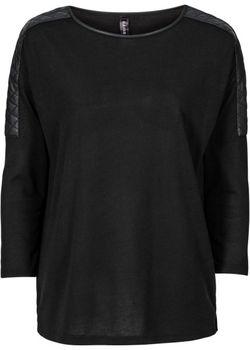 Пуловер С Отделкой Искусственной Кожей bonprix                                                                                                              красный цвет