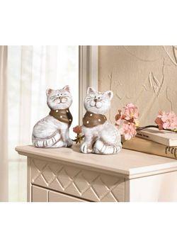Статуэтки Кошечки С Шарфиками 2 Шт. bonprix                                                                                                              серый цвет