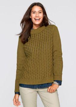 Пуловер С Воротником-Стойкой bonprix                                                                                                              зелёный цвет