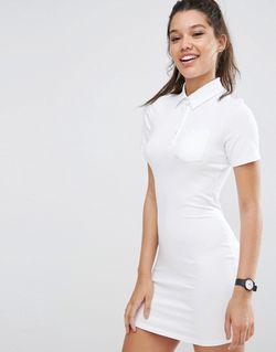Платье-Рубашка Поло Белый Asos                                                                                                              белый цвет