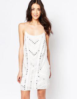 Платье На Бретельках С Декоративной Отделкой Белый Glamorous                                                                                                              белый цвет