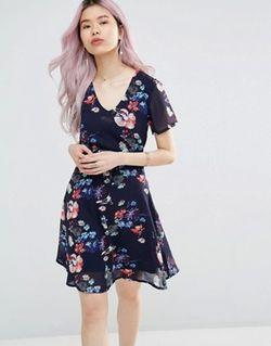 Чайное Платье С Цветочным Принтом И Завязкой Yumi                                                                                                              синий цвет