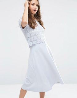 Платье Миди С Кружевом Синий Asos                                                                                                              синий цвет