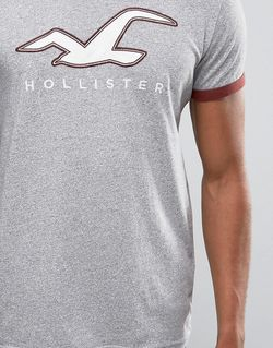 Серая Футболка Слим С Принтом Логотипа И Hollister                                                                                                              None цвет